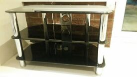 black and chrome tv stand*excellent condition*
