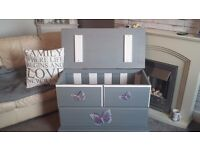 Pine toy box hand painted in grey and white with 3d butterflies