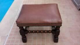 Vintage Leather-top Stool