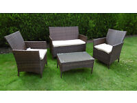 New Fully Assembled Black Rattan Garden Furniture Set Conservatory Patio Outdoor Table Chairs Sofa