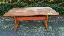 Vintage Retro Teak Tiled Top Dining Table
