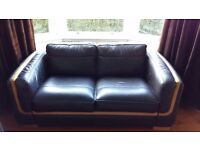 2 and 3 seater brown leather sofas with light wood trim