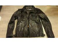 Superdry mens leather 'ryan' jacket