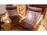 Poang Ikea Brown Leather Chairs x 2