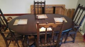 Ercol vintage oak table and 6 chairs