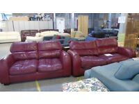 PRE OWNED 3 Seater Sofa + 2 Seater Sofa in Burgandy Leather