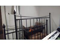 Super king size black metal cast iron bed