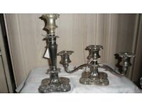 2 SILVER PLATE CANDLE STICK'S (A SINGLE & A TRIPLE PRONG)