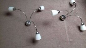 3 way silver chrome light fitting with glass shades - set of two