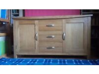 """Beautiful """"Také""""Natural Solid Oak Large Sideboard with 3 draws and 2 storage cupboards."""