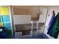 White 3 In 1 Bunkcot Bunk Cot & Bunk Bed RRP £629 baby toddler bunk beds