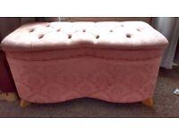 Pink Damask Storage Ottoman