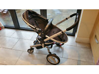 Silver Cross Surf pram travel system black/silver with accessories, well used