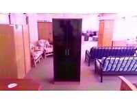GREAT CONDITION!! 2 door black fronted wooden wardrobe with built in rail and storage