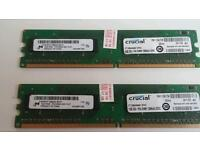 CRUCIAL DESKTOP MEMORY RAM 2x1GB