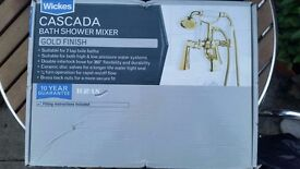 New & Boxed Wickes Cascada Bath Room Shower Head & Mixer Tap Gold Finish. Bathroom