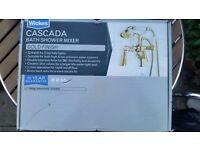 New & Boxed Wickes Cascada Bath Room Shower Head & Mixer Tap Gold Finish. Bathroom