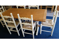 Family Farmhouse Rustic Dining Table and 6 Chairs