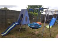 Saucer swing and slide