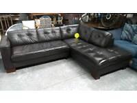Dark brown leather corner sofa very nice condition