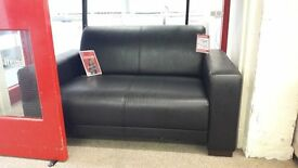 Curved Black Leather 2 Seater Sofa