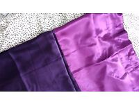 Pair of long tab top, lined, two tone purple satin curtains, 170 x 230 cm excellent condition