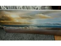 Bluebell wood and beach waves canvas