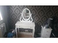 White Wood Dressing Table with 2 Drawers, Mirror & Chair in Very Good Condition