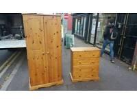 Solid pine wardrobe £80 chest £40
