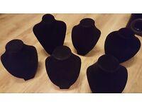 6 x black flock jewellery display busts