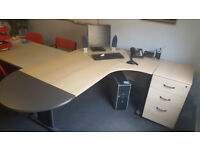 Corner office desk with set of drawers *used*