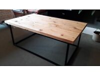 Lovely coffee table, metal box frame and solid wood top