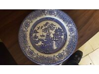 Blue and White Oriental-decorated Plate