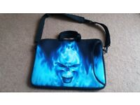 Blue skull laptop bag