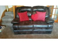 3 Seater and 2 Seater reclining Brown sofa