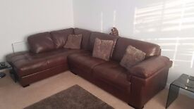 Virtually New Leather Corner Sofa and Chair