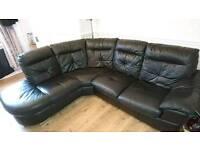 Lhf black leather corner sofa