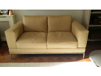 Ikea 2 seater Cream Leather Sofa, Settee, In Good Condition.