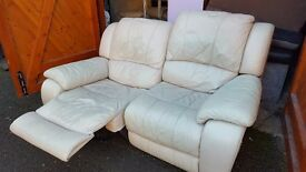 White Two seater recliner sofa. FREE delivery in Derby