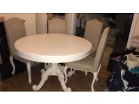 French style cream painted dining table and chairs