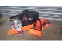 """Chainsaw Parker PCS-6200 USED ONCE,20"""",spare chain,2 stroke + chain oil,tool kit,CD manual,carry bag"""