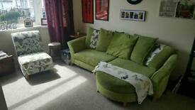 Green DFS Butterfly Design 3 Seater couch plus single Chair