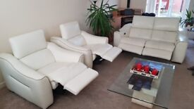 Elixir White Leather Electric Recliner Sofa Suite