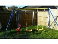 Trampoline swing set