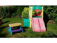 Little Tikes Outdoor Twin Slide Tunnel Climber and Little Tikes Picnic Table