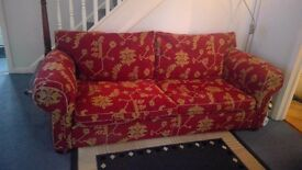 Duresta 4 seater sofa with matching arm chair and assorted scatter cushions in excellent condition