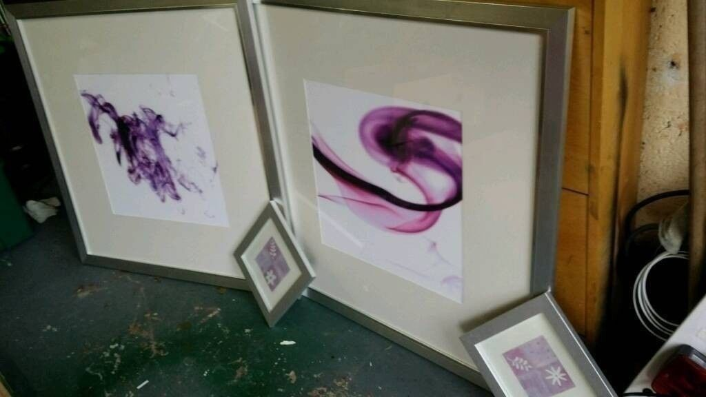 BARGAIN COST OVER £100 SELL £25 Two very large modern silver framed pictures &2 small £20