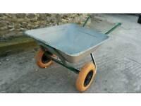 Galvanised wheelbarrow twin wheel