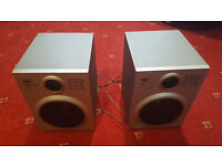 Pair of Silver Hi-fi Stereo Bookshelf Speakers