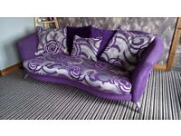 Purple sofa and tub chair excellent condition not a mark on it £150 call or text